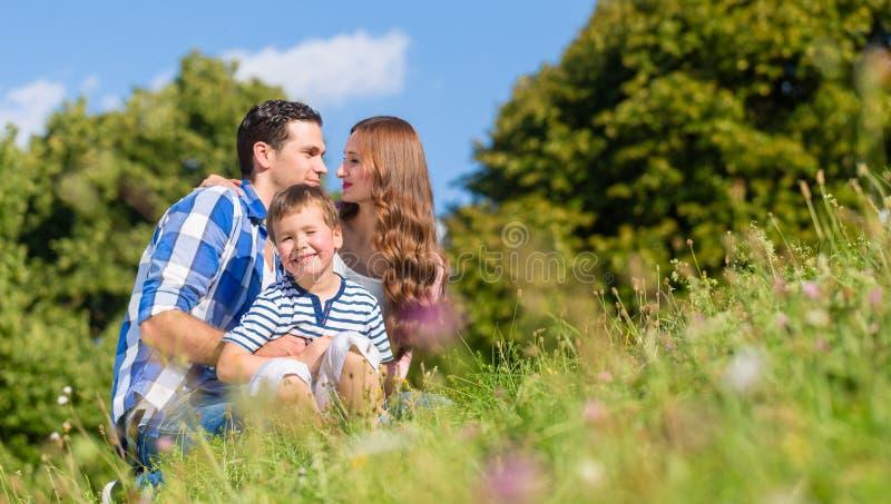 Сидеть семьи прижимаясь на луге в лете стоковое фото