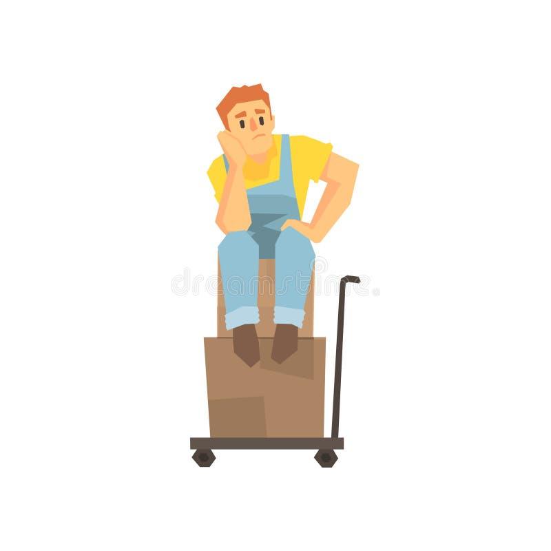 Сидеть человека несчастный на куче коробок на тележке груза, работнике компании по доставке поставляя иллюстрацию пересылок бесплатная иллюстрация