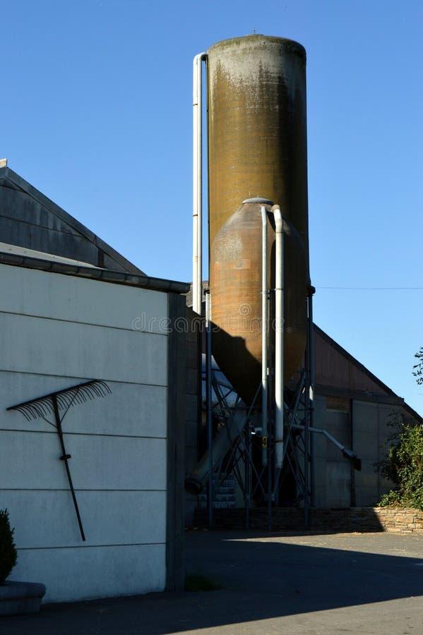 Силосохранилища зерна перед амбаром стоковое фото rf