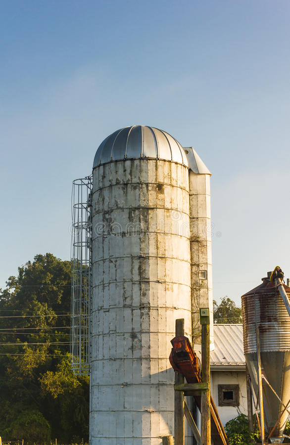 Силосохранилище зерна на ферме Вирджинии стоковое фото