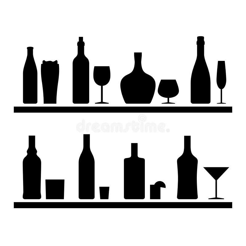 Силуэты бутылок черные иллюстрация вектора