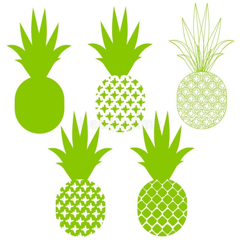 Силуэты вектора ананаса в зеленом цвете различном иллюстрация вектора