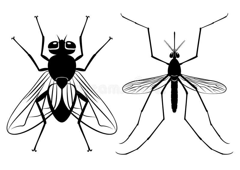 Силуэты вектора мухы и москита иллюстрация вектора