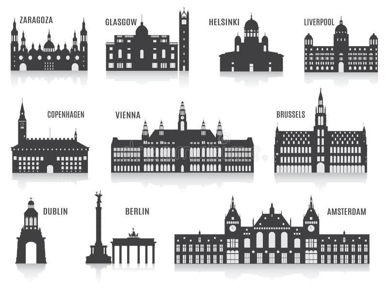 Силуэты городов иллюстрация вектора