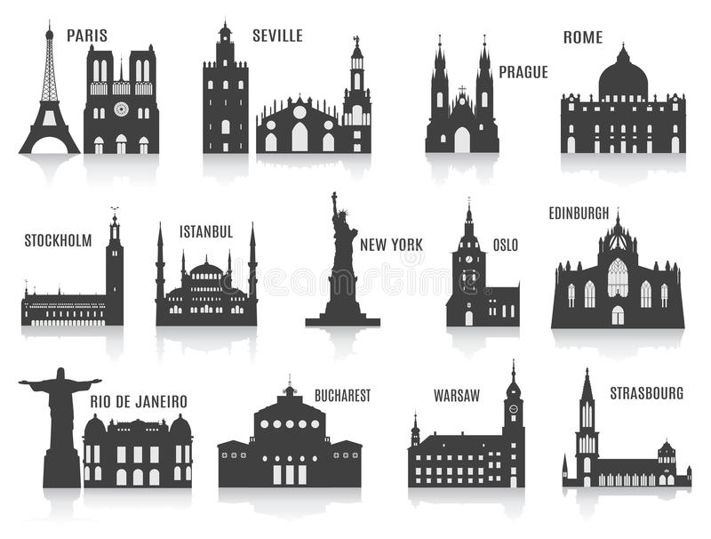 Силуэты городов иллюстрация штока