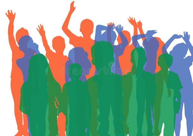 Силуэты группы детей с светонепроницаемостью в зеленом цвете, сини и апельсине бесплатная иллюстрация