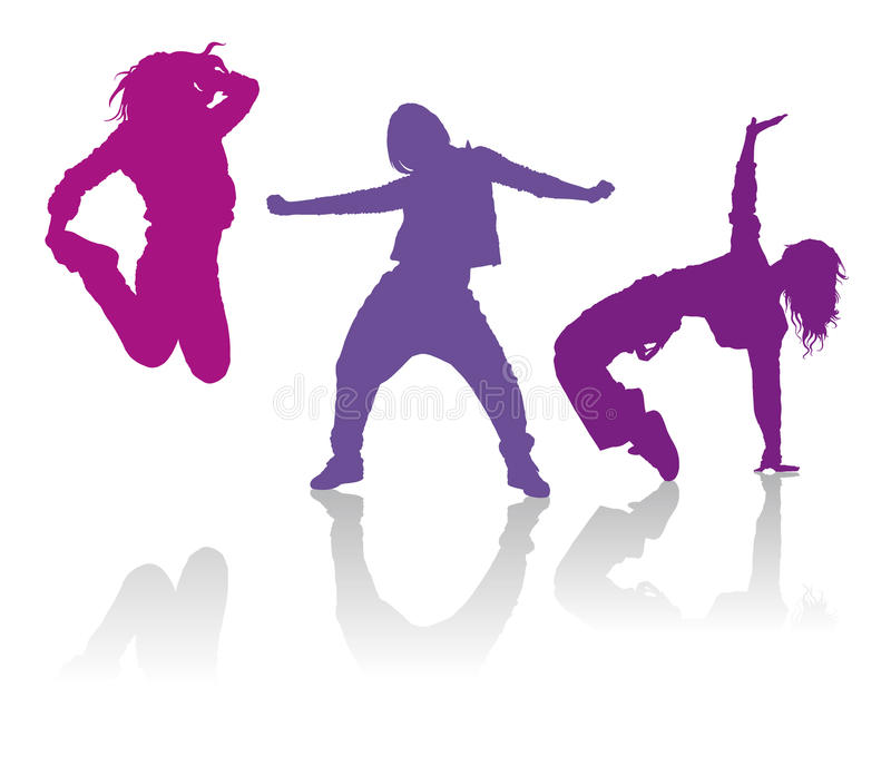 Силуэты девушек танцуя современный танец стоковые фото