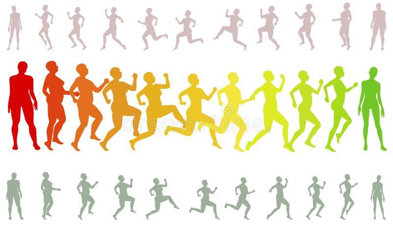 Силуэты женщины веса формы бежать проигрышные иллюстрация вектора
