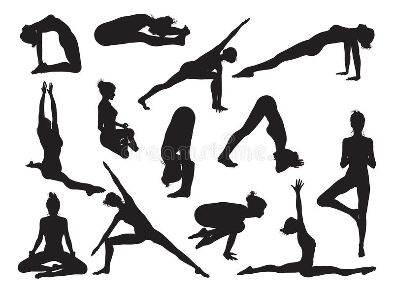Силуэты женщин представления йоги бесплатная иллюстрация