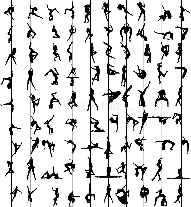 Силуэты женщин танца поляка иллюстрация штока