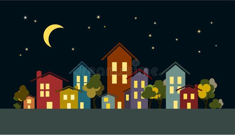 Силуэты зданий города ночи с деревьями, луной и звездами иллюстрация штока