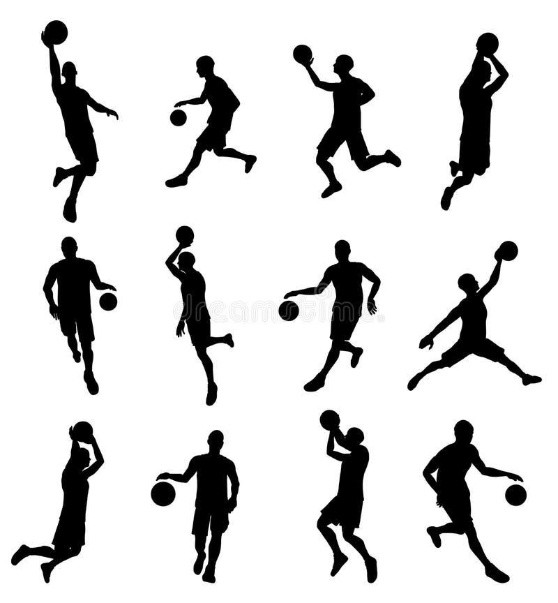Силуэты игрока Basketballl иллюстрация вектора
