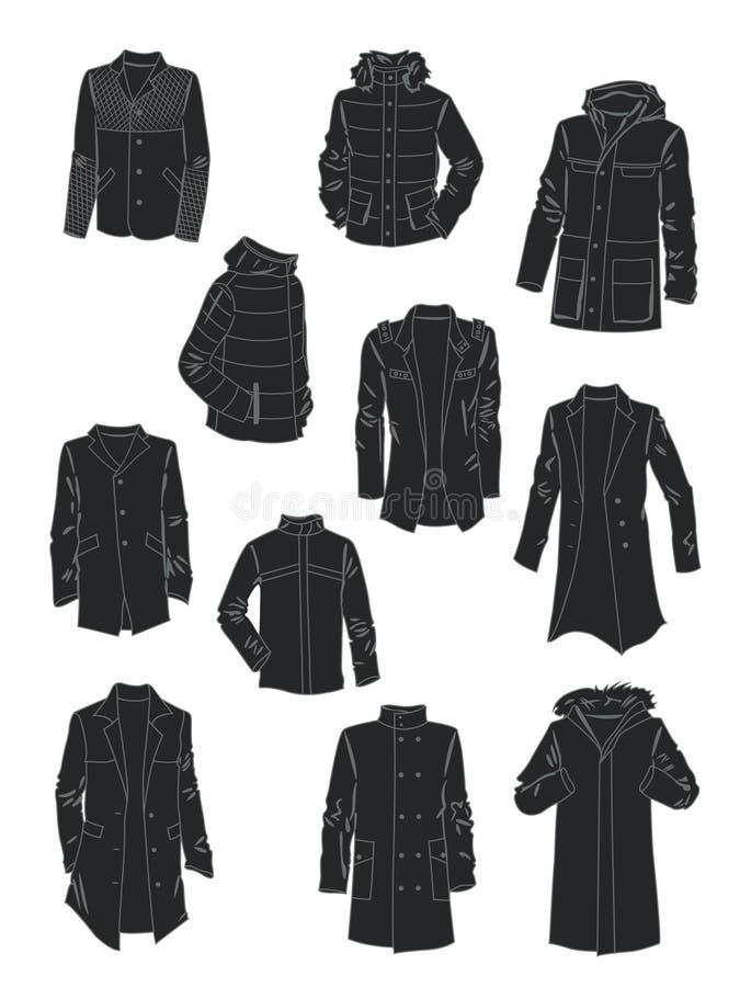 Силуэты курток и пальто людей иллюстрация вектора