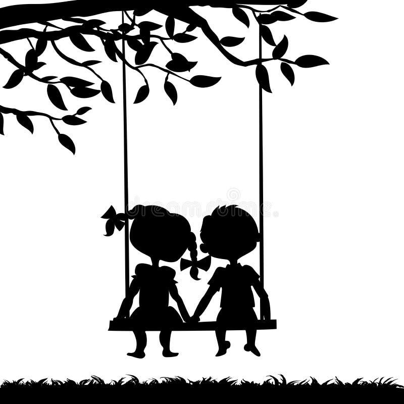 Силуэты мальчика и девушки иллюстрация вектора