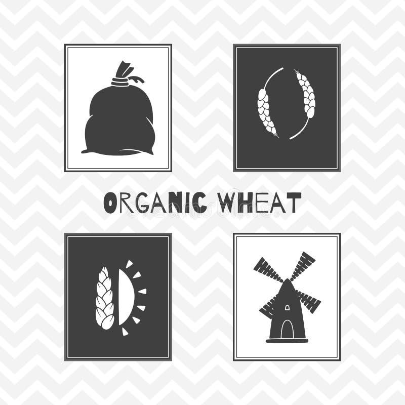 Силуэты нарисованные рукой Плакаты пшеницы или муки иллюстрация штока