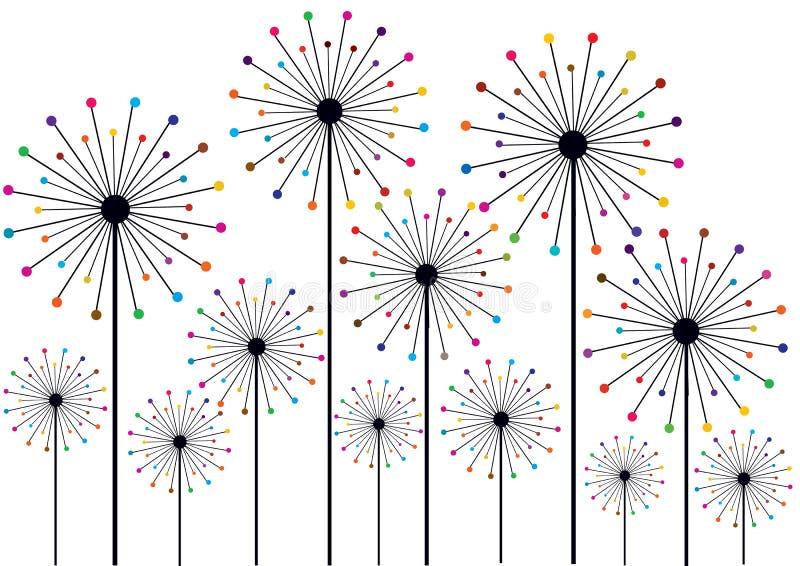 Силуэты одуванчика с красочными точками польки иллюстрация вектора