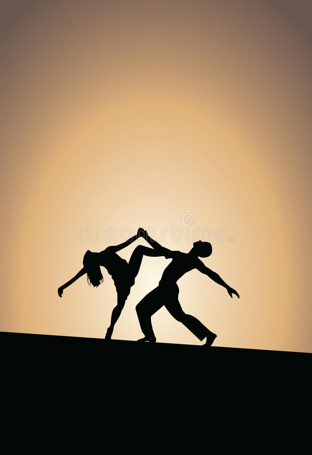 Силуэты пар танцев, заход солнца иллюстрация штока