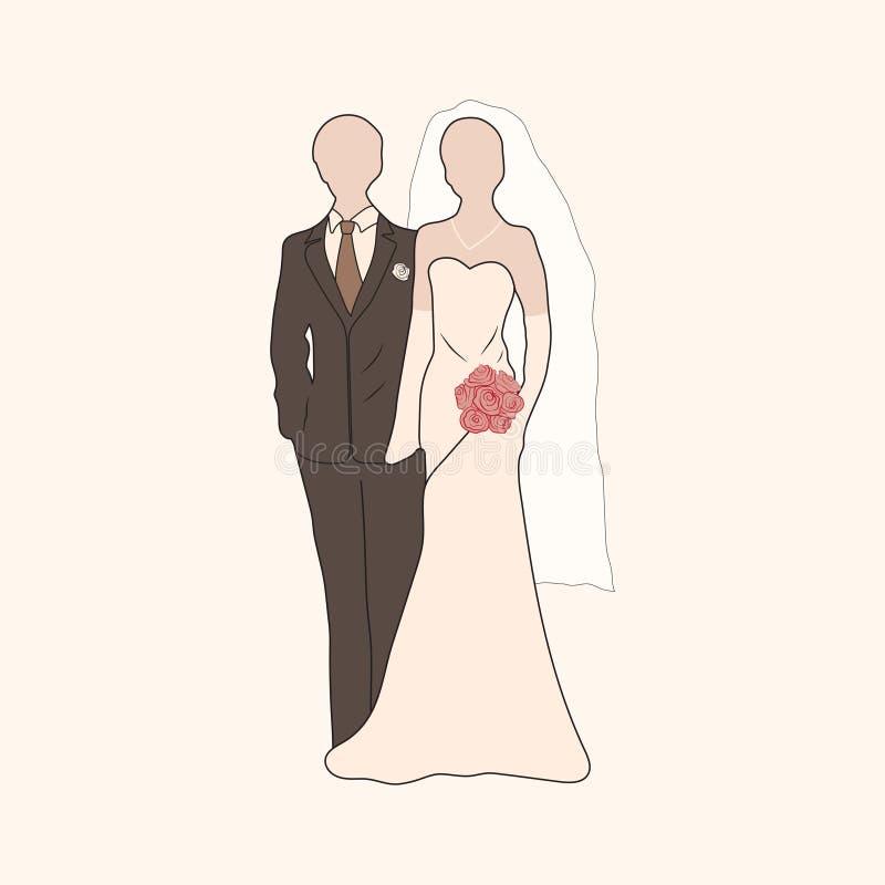 Силуэты пастели жениха и невеста вектора иллюстрация штока