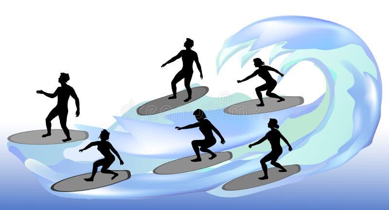 Силуэты серферов на волнах иллюстрация штока