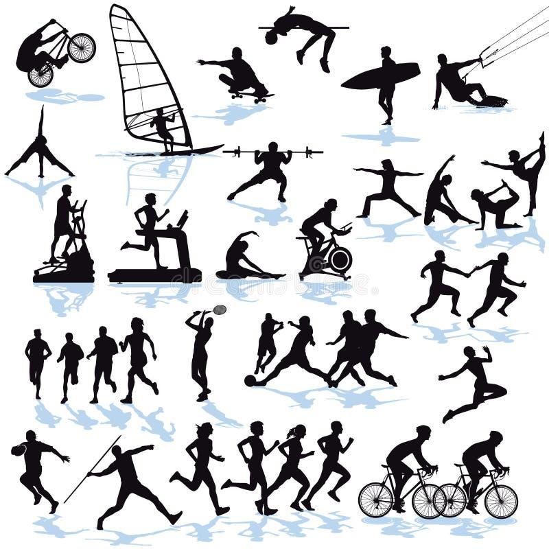 силуэты спортсменов иллюстрация вектора