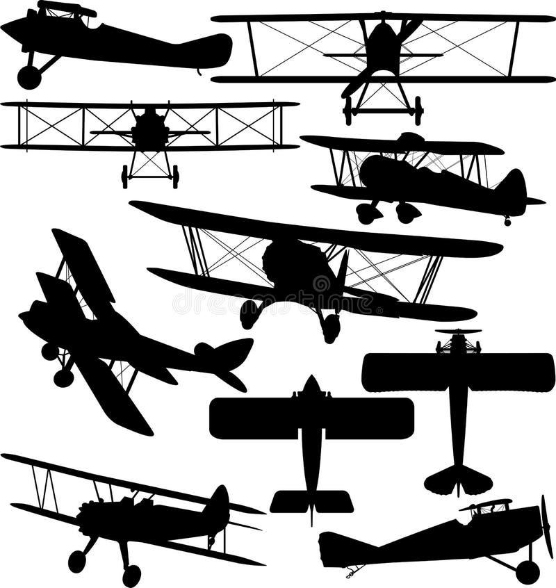 Силуэты старого аэроплана - самолет-биплана иллюстрация штока