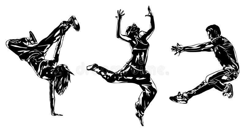 Силуэты танцоров иллюстрация вектора