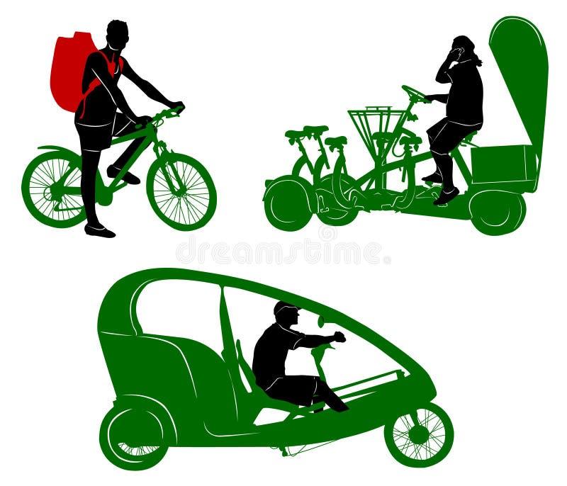Силуэты туристских транспорта и путешественника иллюстрация штока