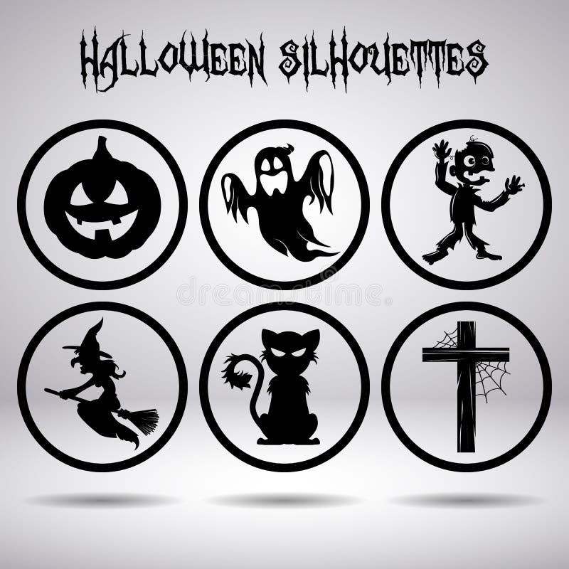 Силуэты хеллоуина в круге стоковое фото rf