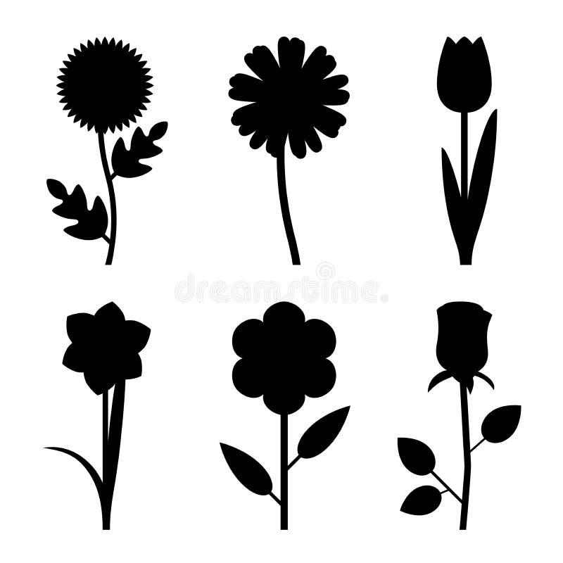 Силуэты цветков черные иллюстрация штока
