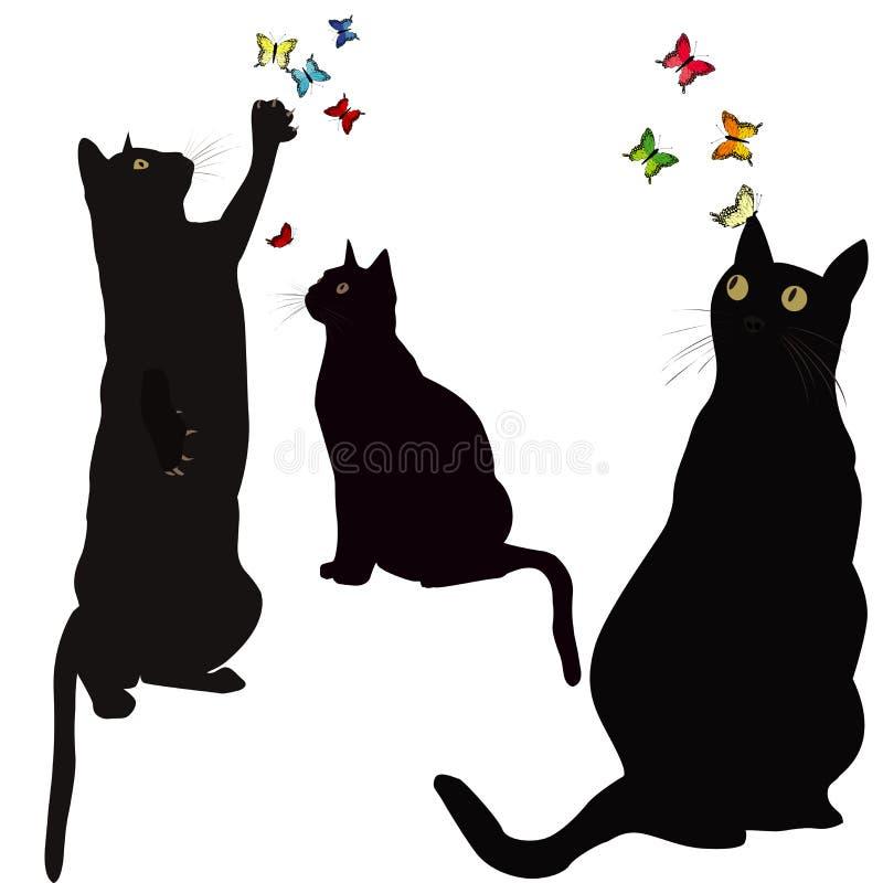 Силуэты черных котов и красочные бабочки иллюстрация вектора