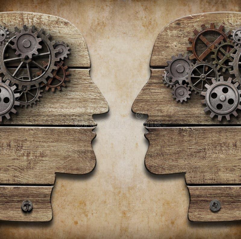 Силуэты человеческой головы с cogs и шестернями иллюстрация штока