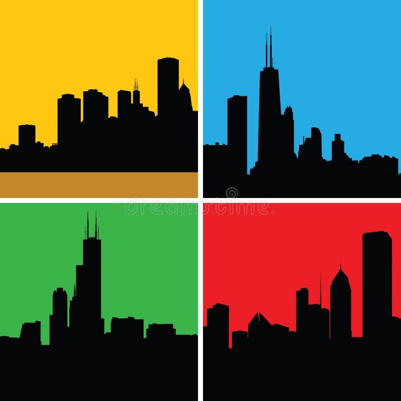 Силуэты Чикаго иллюстрация штока