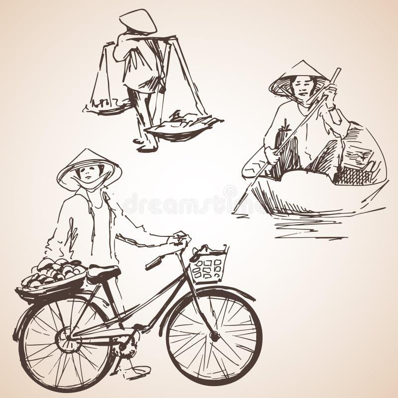 Силуэты людей Вьетнама с плодоовощ, велосипедом и шлюпкой иллюстрация штока