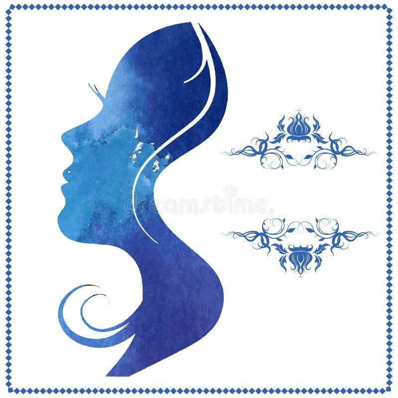 Силуэт акварели красивой молодой женщины иллюстрация вектора