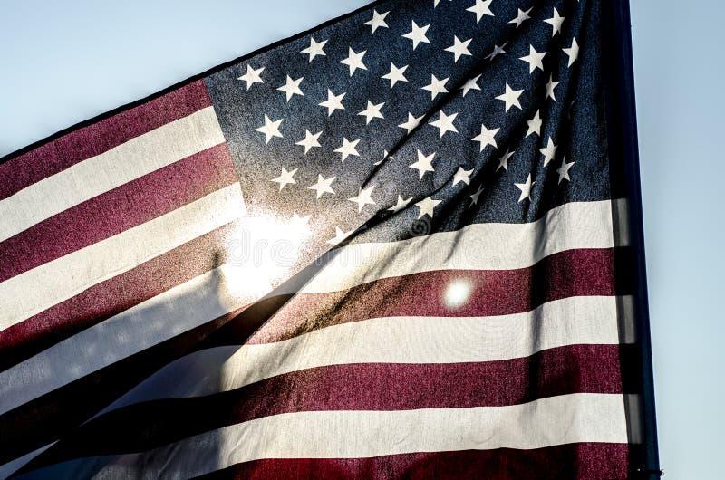 Силуэт американского флага стоковое фото rf
