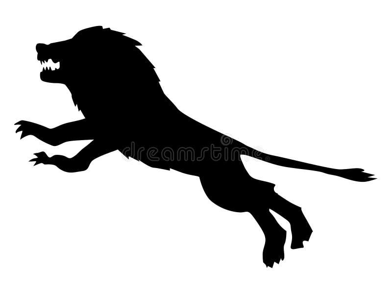 Силуэт атакуя льва иллюстрация вектора