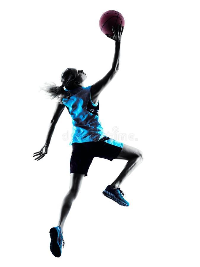 Силуэт баскетболиста женщины стоковые изображения rf
