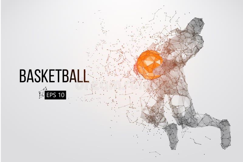 Силуэт баскетболиста также вектор иллюстрации притяжки corel иллюстрация вектора