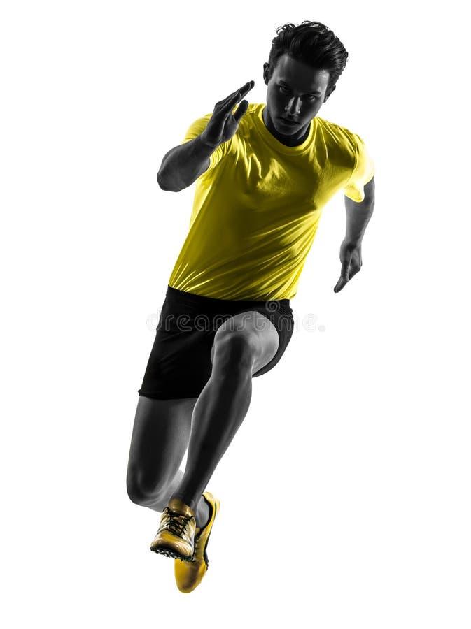 Силуэт бегуна спринтера молодого человека идущий стоковое фото rf