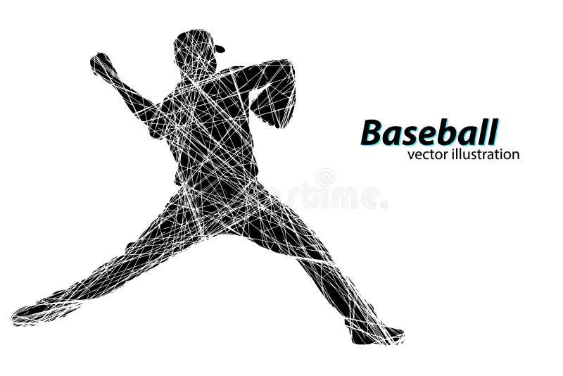 Силуэт бейсболиста также вектор иллюстрации притяжки corel бесплатная иллюстрация