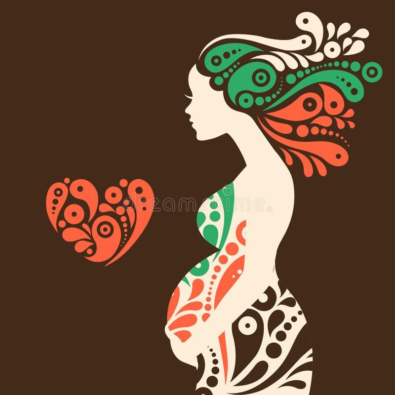 Силуэт беременной женщины с абстрактная декоративной иллюстрация штока