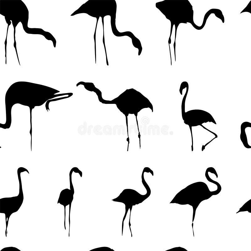 Силуэт белизны черноты картины фламинго безшовной бесплатная иллюстрация