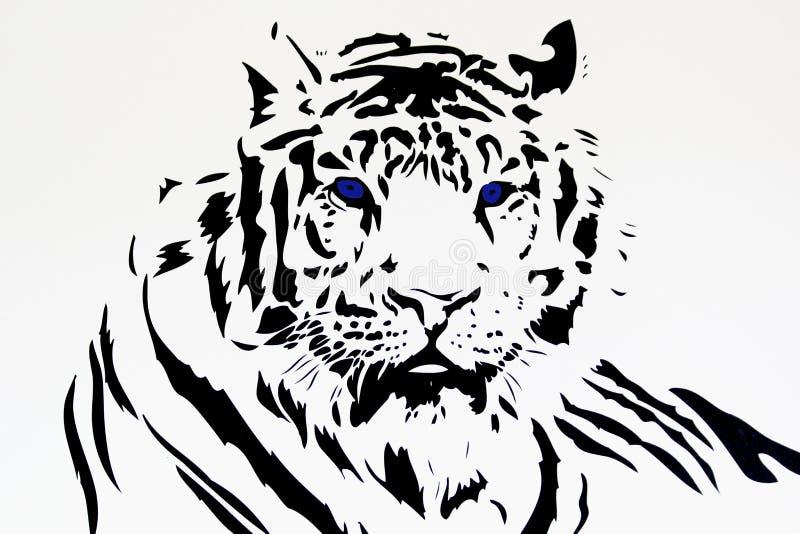 Силуэт белого тигра племенной черный стоковые фотографии rf