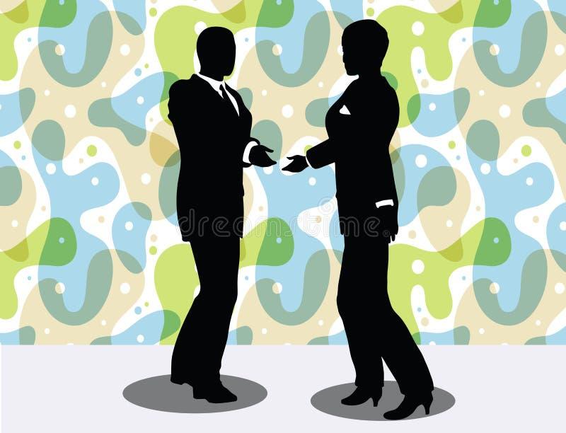 силуэт бизнесмена и женщины в представлении рукопожатия иллюстрация вектора