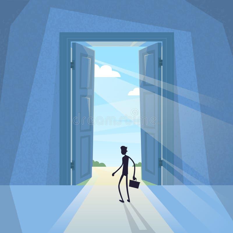 Силуэт бизнесмена черный стоя на бизнесмене входа двери бесплатная иллюстрация