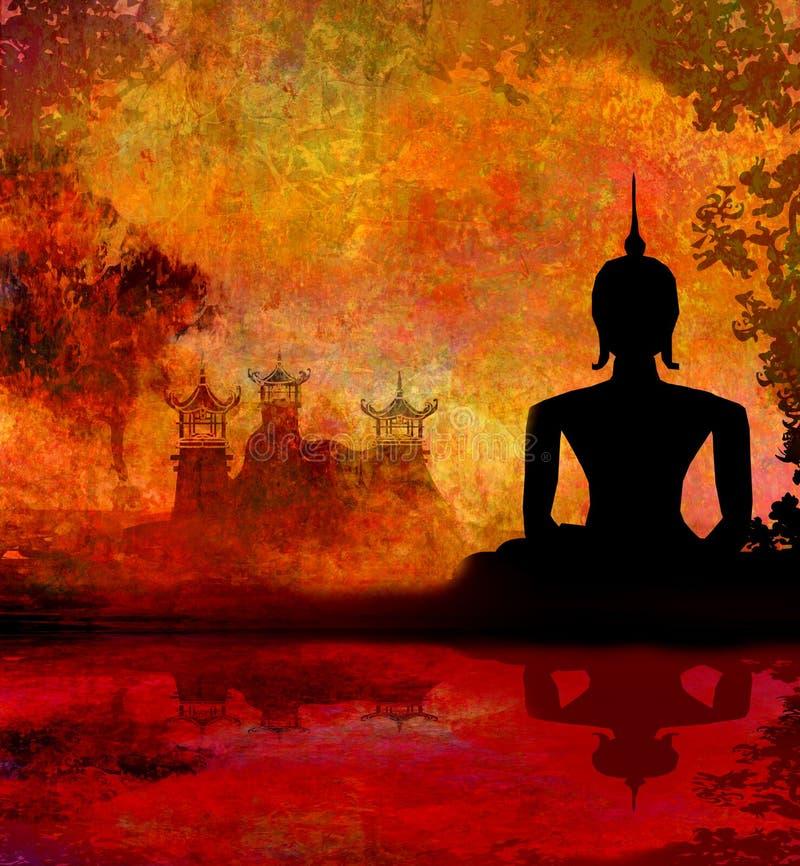 Силуэт Будды, азиатский ландшафт в текстуре grunge иллюстрация штока