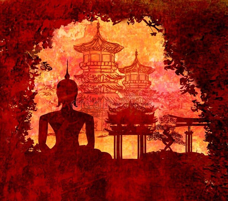 Силуэт Будды, азиатский ландшафт в текстуре grunge иллюстрация вектора
