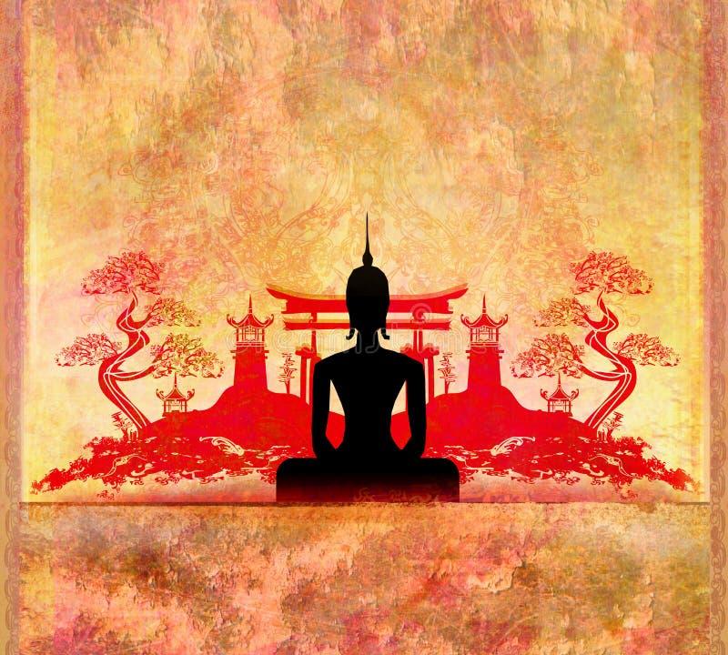 Силуэт Будды, азиатский ландшафт на заднем плане иллюстрация штока