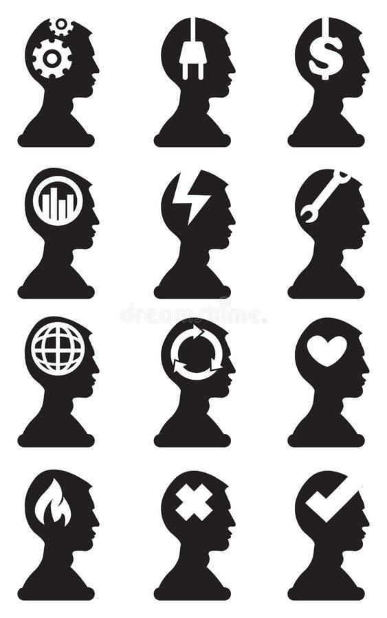Силуэт бюста человека с схематическими символами в значке вектора мозга иллюстрация вектора