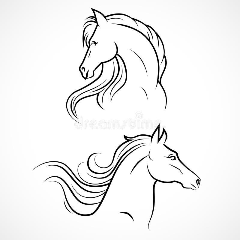 Силуэт вектора лошадей иллюстрация штока